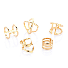 5 Pcs Geometric V-Shaped X Hollowed-out Rings Set Women Simple Jewelry CX17