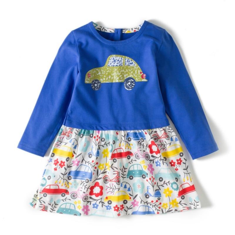 Autumn Girls Dress Cute Cartton Ducks Cars Dragonflies 3 Kinds Printing Cotton Children Dresses 2~6 Y