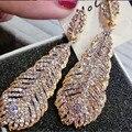16 мода напыщенные золото / серебро перо кристалл серьги для женщин длинные листьями серьги свадебные украшения платье аксессуары