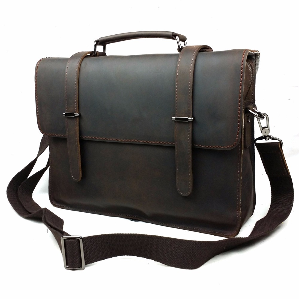 Retro Crazy Horse Genuine Leather Classic Mens Briefcase Handbag Cossbody Shoulder Busin ...