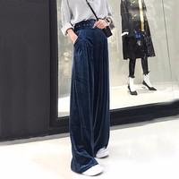 TWOTWINSTYLE Velvet Palazzo Wide Leg Pants Women High Waist Belt Tunic Big Size Loose Trousers Famale