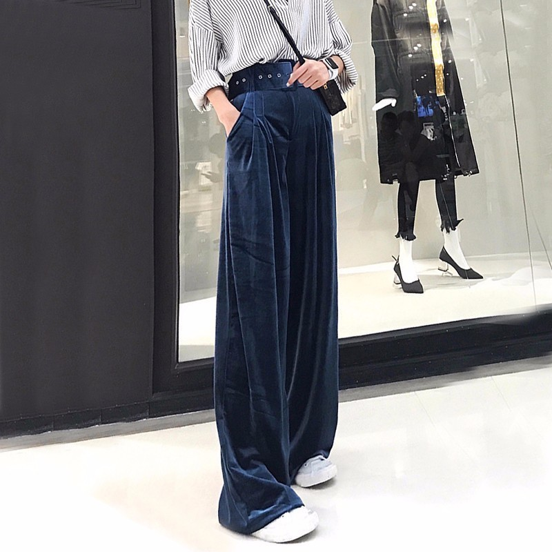 TWOTWINSTYLE Velvet Palazzo   Wide     Leg     Pants   Women High Waist Belt Tunic Big Size Loose Trousers Famale Autumn Winter Clothing