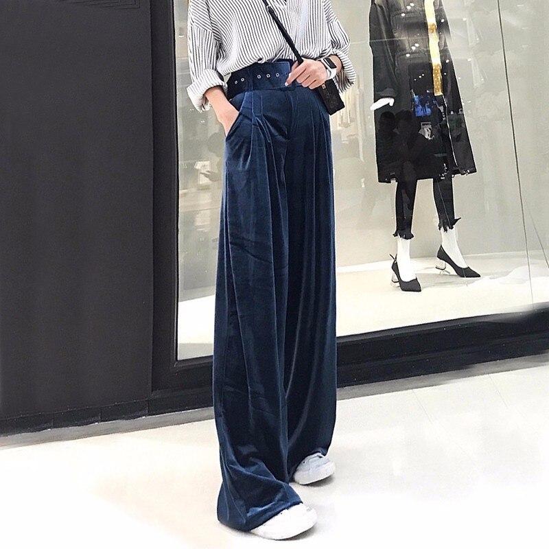 TWOTWINSTYLE terciopelo Palazzo pierna ancha pantalones mujeres túnica cintura  alta talla grande pantalones sueltos Famale Otoño 4bd108336107