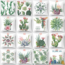 Hot sale tropiacal cactus  pillow case  square pillow cases home  beauty butterfly pillow cases pillow cover 45*45cm cactus pillow case cover 1pc