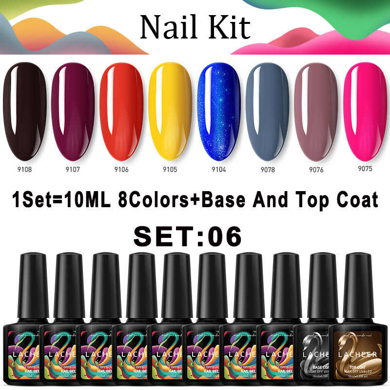 Lacheer 10 Buah/Banyak Warna Kuning Uv Gel Nail Polish Rendam Off LED Nail Gel Lacquer Kuku Set Semi Permanen Glitter uv Gel Varnish