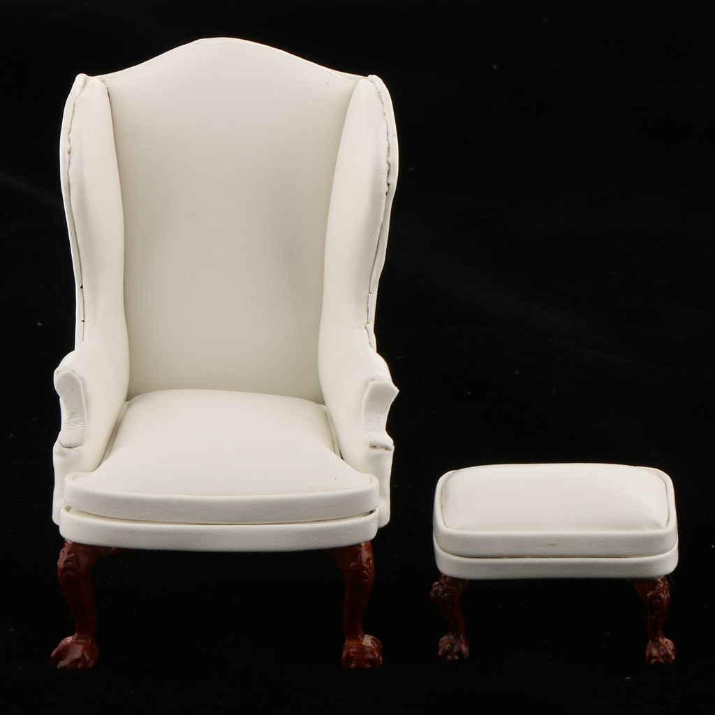 1//12 Dollhouse Miniature Room Furniture Wing Chair /& Ottoman Model Toy Set