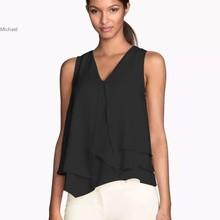 New Candy Color Fashion Layered Women Chiffon Blouse,Women Summer Feminino Blusas Sleeveless Shirts 12
