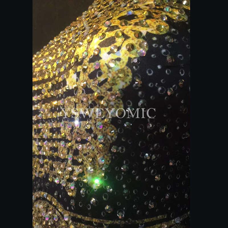 الذهب الراين هامش بذلة عارية تمتد ارتداءها الزي مساء نادي تظهر قطعة واحدة النساء الجاز اللاتينية ملابس رقص ارتداء