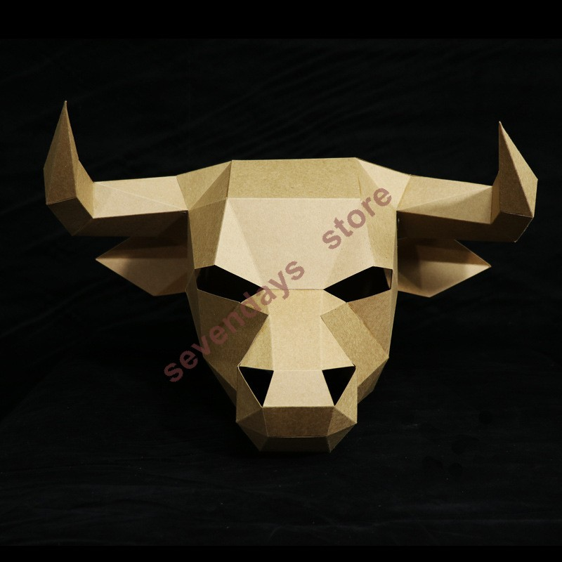 Animal Mask Bull Rodeos Masks 3D Stereoscopic Geometric Paper DIY Handmade Material Pack Party Makeup Ball Creative In From Home Garden