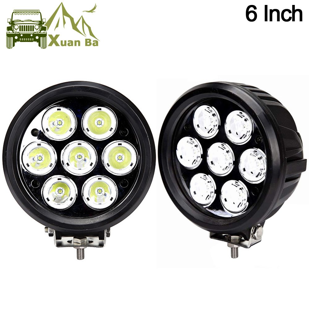 цена на XuanBa 2Pcs 6 inch 70W Round Led Work Driving Light For Atv Truck Tractor 4x4 Offroad SUV Fog Lamp 12V 24V Spot Flood Roof Light