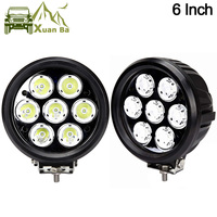 XuanBa 2Pcs 6 inch 70W Round Led Work Driving Light For Atv Truck Tractor 4x4 Offroad SUV Fog Lamp 12V 24V Spot Flood Roof Light