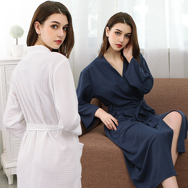Women Men Knitted Waffle Suck Sweat Bathrobe Sexy Femme Kimono Towel Bath Robe Bridesmaid Robes Peignoir Dressing Gown Lingerie