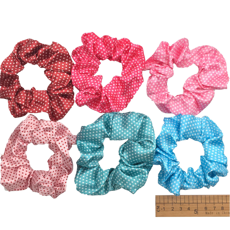 6 шт/лот Бархатные эластичные резинки для волос, резинки для волос для девочек, не складываются, леопардовые женские большие мелкие блестки из шифона с цветочным рисунком - Цвет: PJ023-6PCS