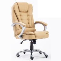 Office Chair Swivel Computer Chair High Back Armchair Fixed Arms Big Executive Chair PU Leather SGS
