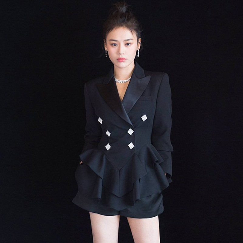Star of The Same 2019 Spring New Black Waist Show Thin Lotus Leaf Hem Small Suit Inverness Jacket Women Blazers and Jackets