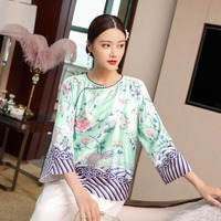 Chinese traditional vintage print summer luxury women silk shirts