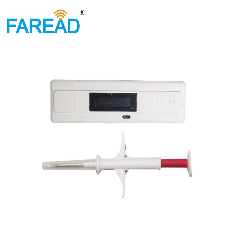 FREE SHIPPING X60pcs Standard ISO LF RFID Pets Chip Syringe+ X1pc Animal ID ISO11784/5 USB FDX-B ID64 Dog Microchip Scanner