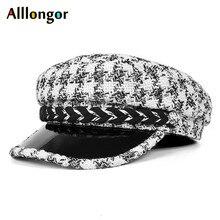 Beret-Cap Military-Hats Autumn Black Vintage Women Winter Plaids Houndstooth High-Quality