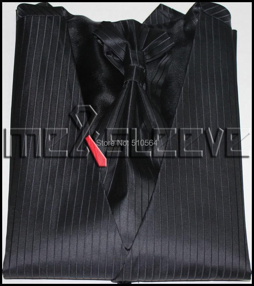Wholesale Free shipping Single Breast Men Vest Waistcoat black stripe Vest(vest+bowtie+Handkerchief+cufflinks)