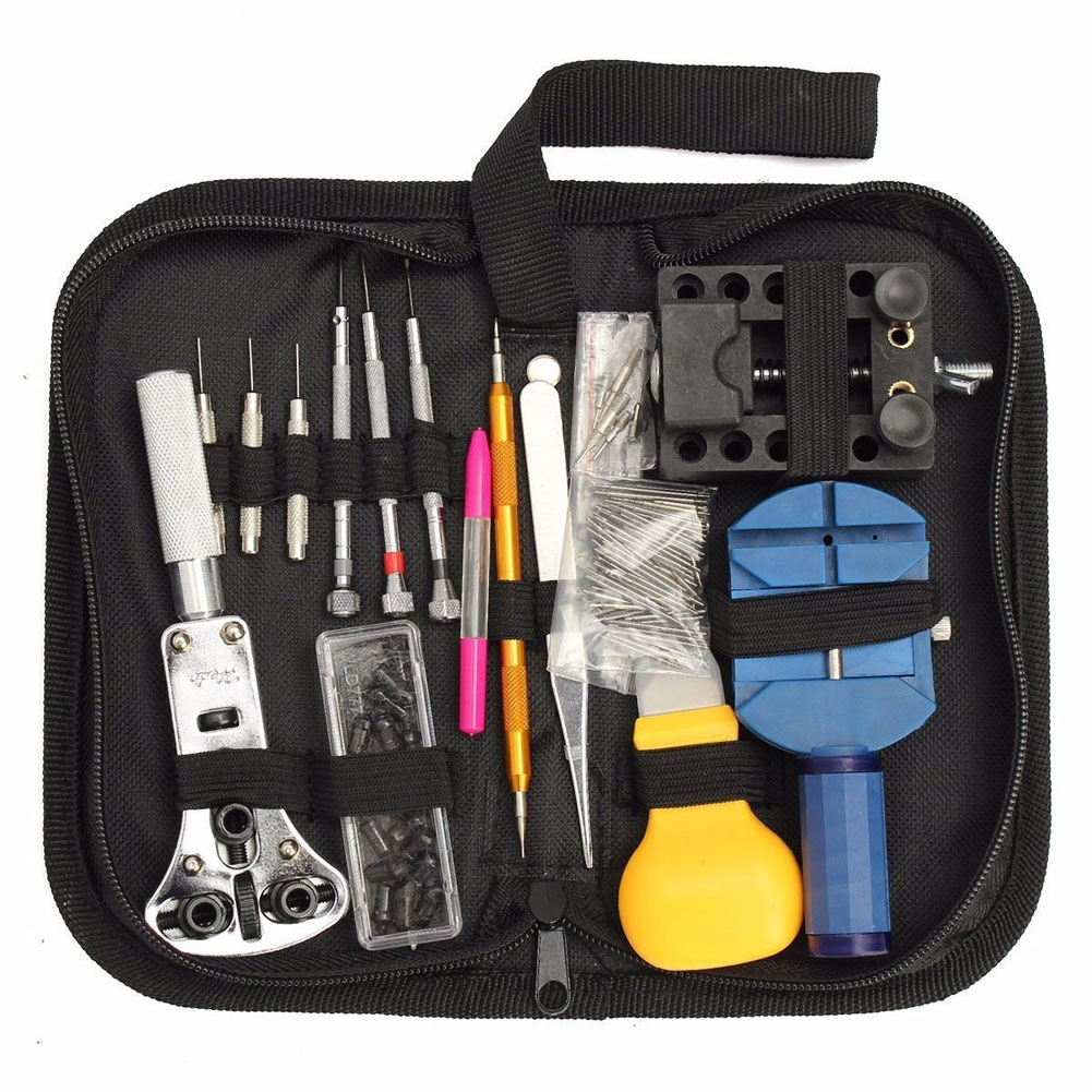 144Pcs Watch Back Case Holder Opener Pin Link Remover Spring Bar Repair Tool Kit 2pcs double sided adjustblae watch case back opener