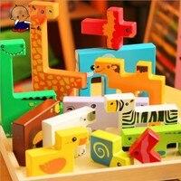 Детские игрушки хорошее качество большой размер 3D животных головоломки красочные мультфильм деревянные головоломки игрушка в подарок для ...