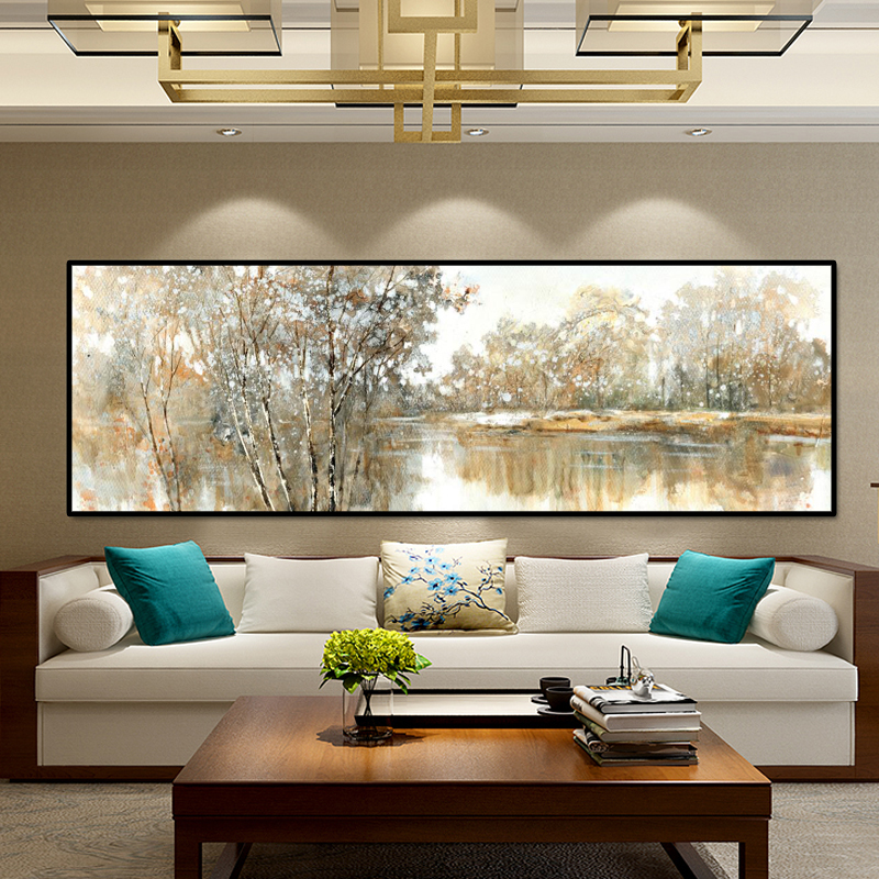 Abstract Landscape Oil Painting Posters and Prints Wall Art Canvas Painting Trees and Lakes Pictures for Living Room No Frame