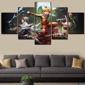 HD Prints Pictures Home Decoration 5 Panel Naruto Paintings Modular Animation Canvas Poster For Boy Bedroom Wall Art Framework(China)