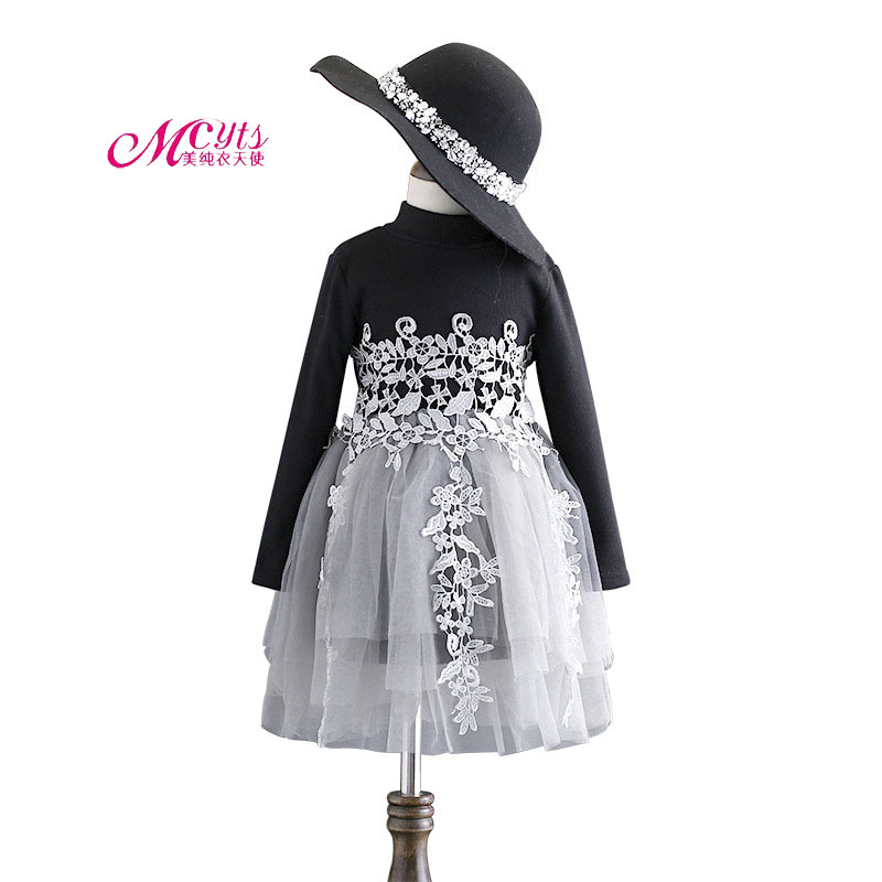 Baby Girls Dress Spring Autumn Girls Long Sleeve Lace Flower Princess Dresses Kids Clothes 2 3 4 5 6 7 Years Girls Velvet Dress 2017 autumn girls dresses 3 4 5 6 7 8 9 10 years long sleeve plaid dress for girl clothes cotton pattern baby children clothing