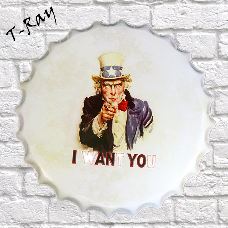 40x40cm I WANT YOU Bottle Cap Metal Painting Retro tin sign Pub Family Gift HOT Home Hall Decor RD-36