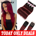 Lace Closure With 4 Bundles Brazilian Straight Hair With Closure Ombre Brazilian Hair With Closure Burgundy Brazilian Hair Weave