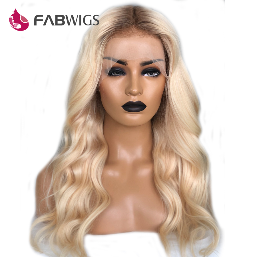 Fabwigs 180% Density Ombre Blonde Lace Front Human Hair Wigs European Transparent Lace Front Wigs Remy Hair Pre Plucked
