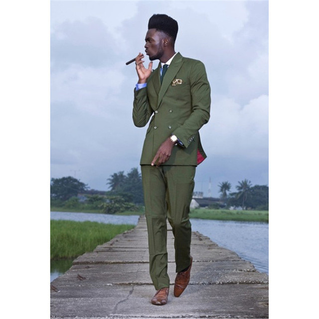 4f9c42feb99 2017 Latest olive Green Double Breasted Men Suit (Jacket+Pants) Smart  Casual Custom Jacket wedding Mens Suits Slim Fit Tuxedo