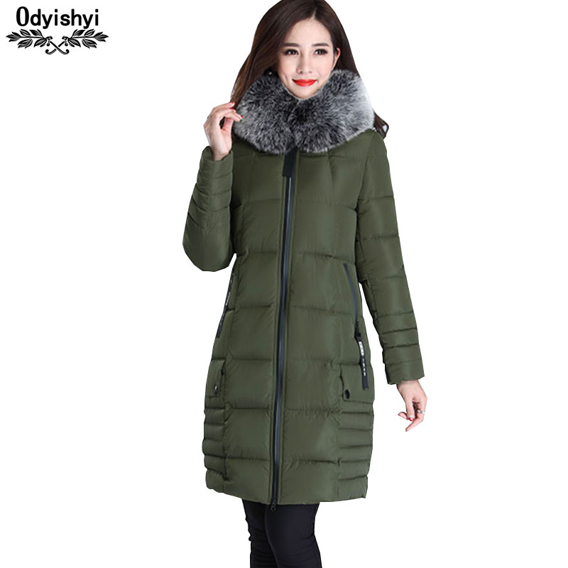 Katoen Kleding Vrouwen 2019 Winter Jas 5xl Plus Size Dikke Hooded Parka Lange Jas Womens Middelbare Leeftijd Slim Warm Uitloper Hs507