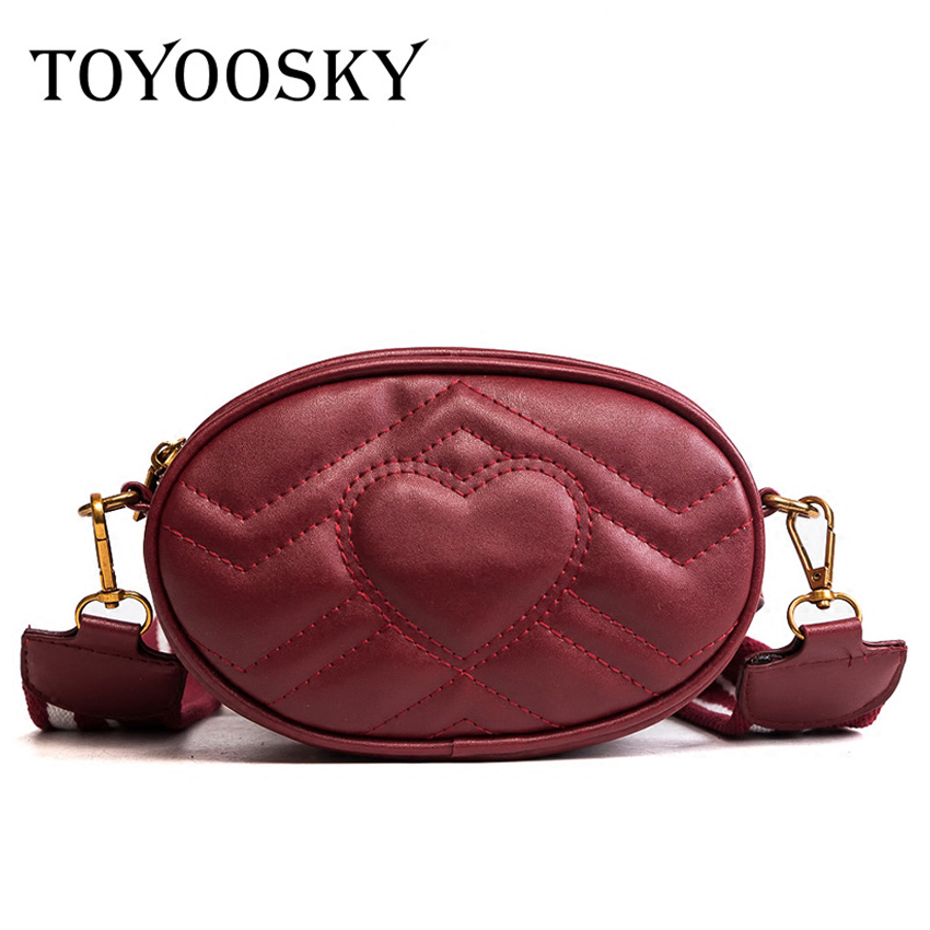 TOYOOSKY Fashion waist bag women fanny waist packs high quality quilted belt bag pu leather ladies handbag crossbody chest bag