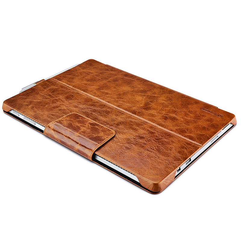 For Microsoft Surface Pro 4 Bag Case ICARER New Fashion Sleeve Oil Wax Vintage Genuine Leather Folio Case For Surface Pro 4