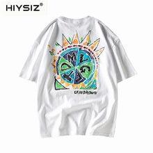 HIYSIZ NEW T-Shirt 2019 100% Cotton Streetwear Japanese casual couple big size harajuku wind short sleeve T-shirt male ST289
