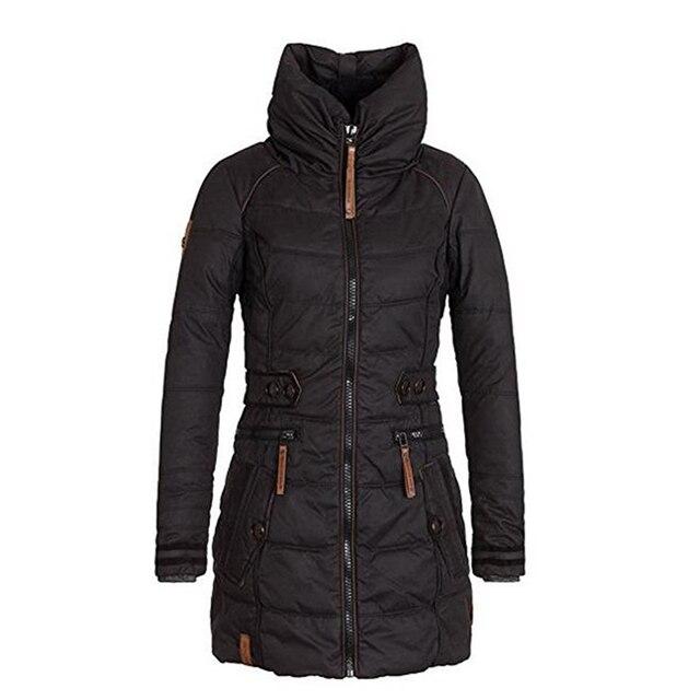 Abrigo de algodón grueso para mujer invierno otoño terciopelo guata Delgado  cuello de pie ropa de 16daae8a2229