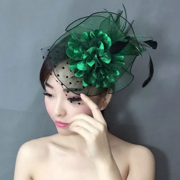Women Fancy Feather Fascinator Hats Green Birdcage Veil Wedding Hats and  Fascinators Black Net Hair Accessories 2017 93b5eb9195b