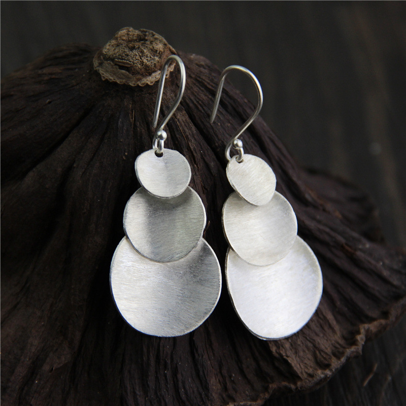 C&R Real 925 Sterling Silver Earrings for Women Multi-layer Round Sequins Thai Silver Drop Earrings Handmade Fine Jewelry