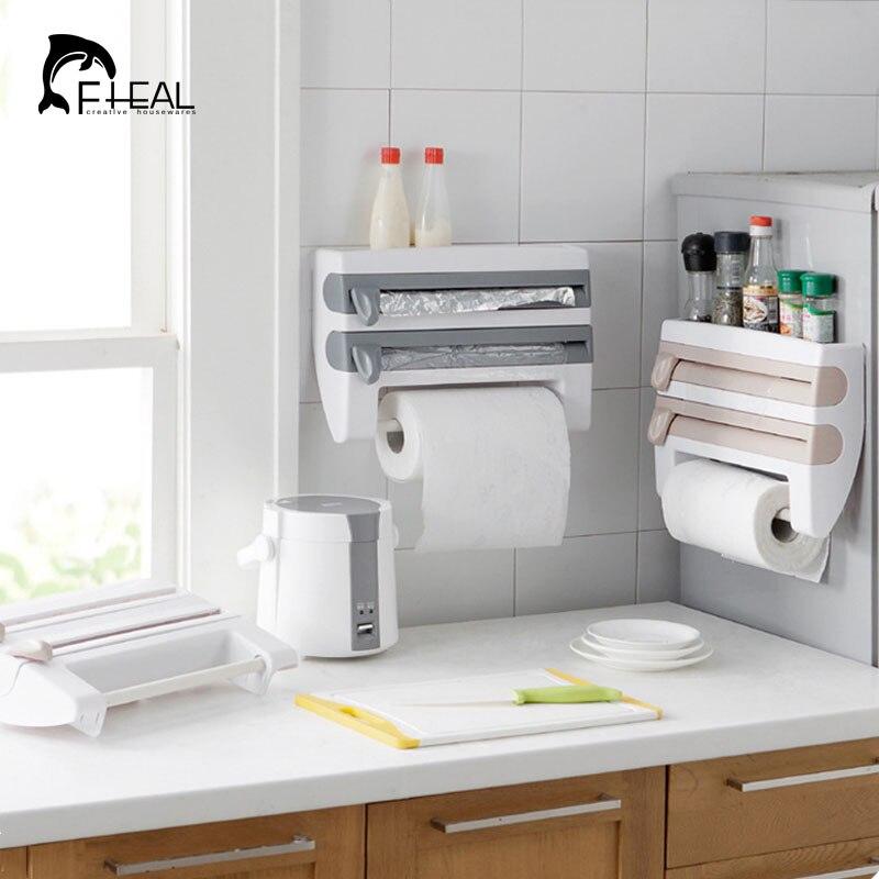 FHEAL Multifunctional Kitchen Storage Rack Towel Roll Paper Holder Spice  Bottle Organize Shelf Cling Film Tin Foil Dispenser