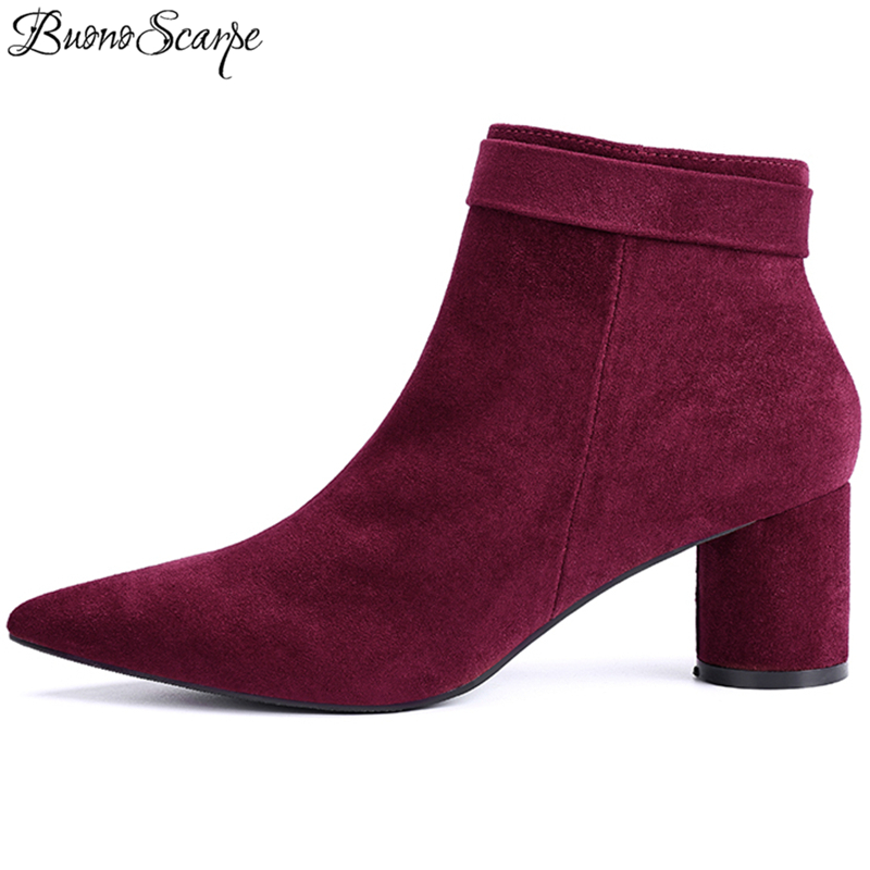 BuonoScarpe Women Ankle Boots Zipper Suede Boots Pointed Toe Fashion Boots For Lady Ankle Strap Shoes High Heel Party Shoes Chic цена