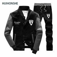 Sweatshirt Men Tracksuit Set Sweat New 2018 Brand Spring Autumn 2PCS Stand Collar Fleece Patchwork Casual