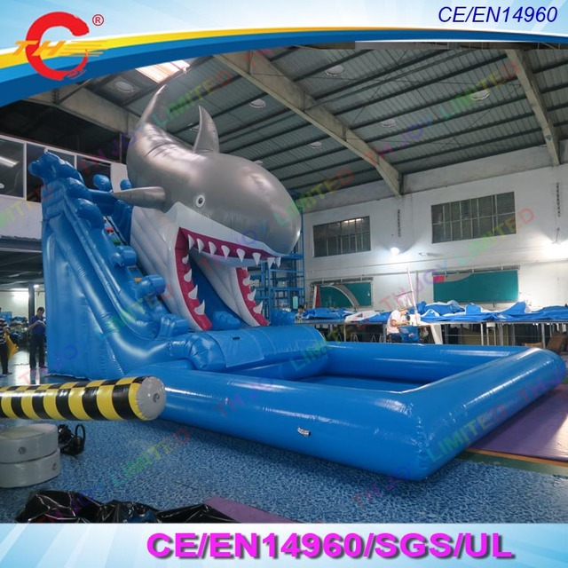 New design shark big inflatable slide commercial giant - Commercial swimming pool water slides ...