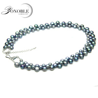 YouNoble Real Freshwater Black Pear Necklace For Women Natural Pearl Necklaces Colorful Three Rows Clasp Chunky
