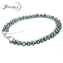 YouNoble real freshwater black pear necklace for women,natural pearl necklaces colorful three rows clasp chunky