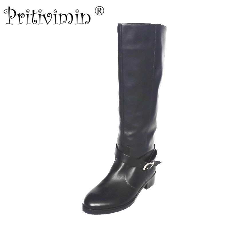 2018 new female winter warm real fur lined shoe woman thick low heel long boots ladies genuine leather footwear Pritivimin FN69