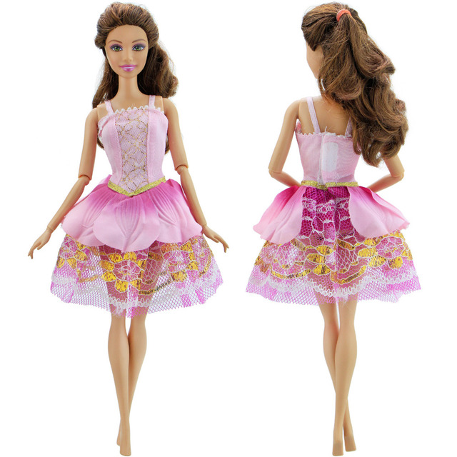 ebf705833cb030 Handmade Fashion Princess Pink Dress Wedding Party Gown Lace Skirt Clothes  For Barbie Doll DIY Accessories Baby Girl Gift Toy