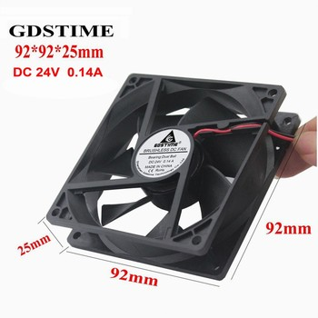 Gdstime 2 Pieces Two Ball Bearing 90mm DC Cooling Fan 24V 2-Wire PC Computer CPU Cooler 92mm 92*92*25mm 9cm 2pcs gdstime dc 24v 2 pin ball bearing 40mm mini small pc cpu cooling fan cooler 40x40x20mm 4020