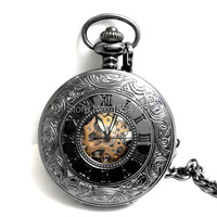 Hot Sale Top QualityCool Black Double Open Mechanical Pocket Watch Flip White Roman Dial Pocket Watch
