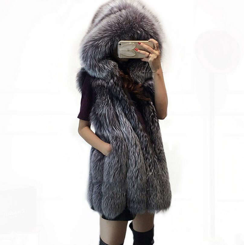Plus Size 3XL Fur Hood Vest Women Faux Fox Fur Vest Striped Fur Gilet Ladies Sleeveless Rabbit Fur Coat Winter Jacket s1109